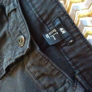 H&M Shorts - H&M Tribal Embroidery Black Blue Grey Denim Shorts